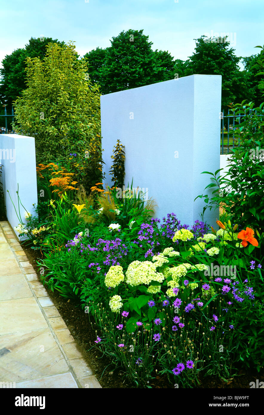 Colourful modern garden with decorative flower borders in summer