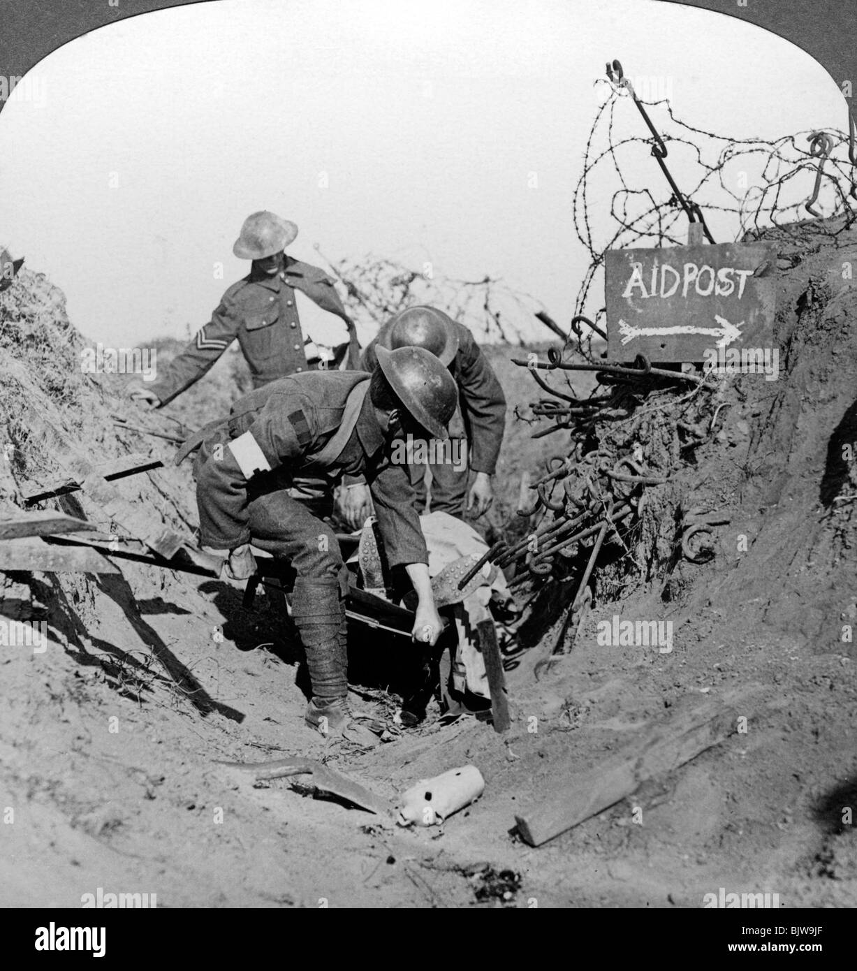 Carrying a wounded soldier to a first aid post, Passchendaele, Belgium, World War I, 1914-1918. - Stock Image
