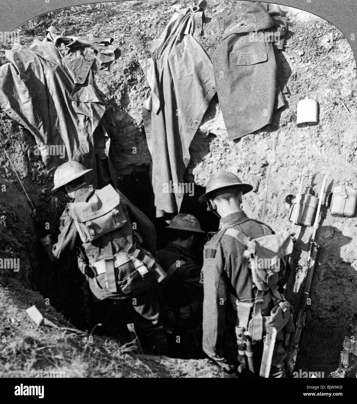 German dugout captured in the advance at Bapaume, France, World War I, 1914-1918. - Stock Image