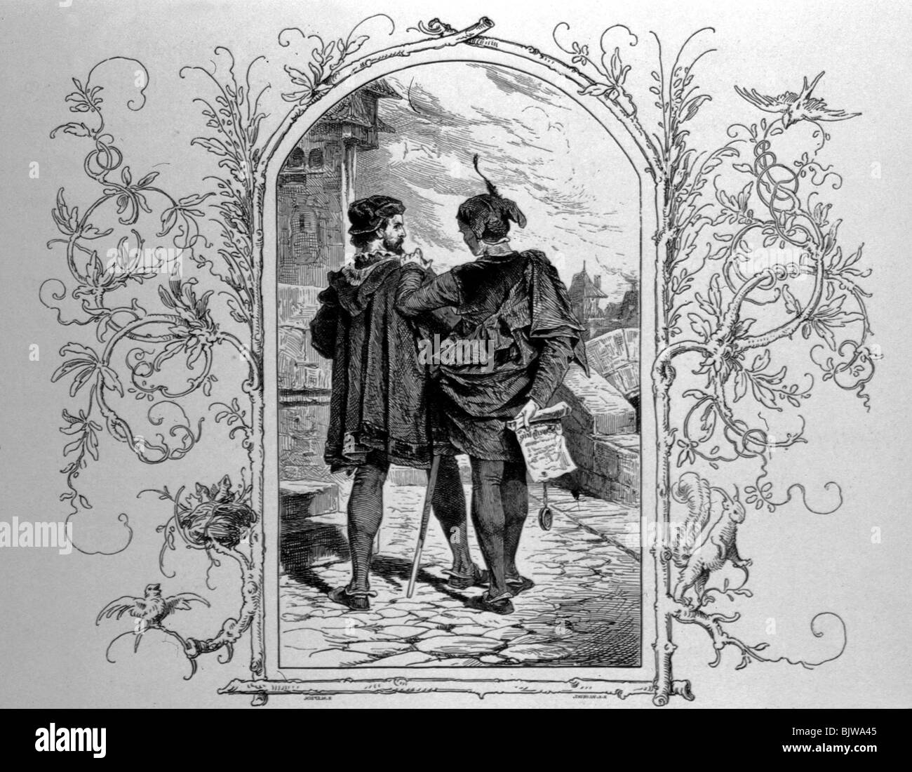 literature, 'Faust I', 12th scene 'Garden', Faust and Mephistopheles, wood engraving by W. Hecht, - Stock Image