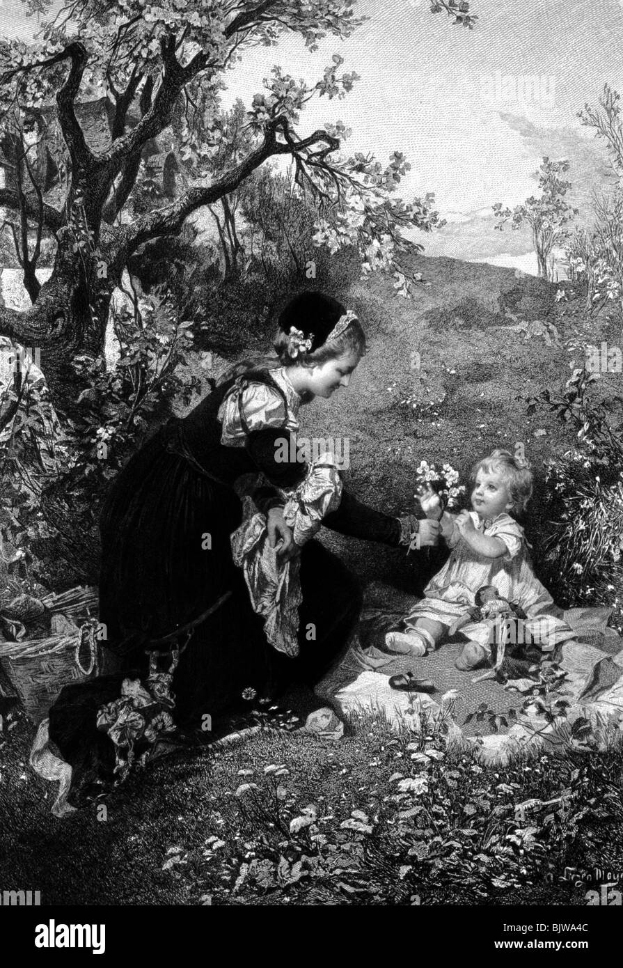 """literature, """"Faust I"""", 12th scene """"Garden"""", Gretchen and sister, wood engraving by Alexander Liezen Mayer, circa Stock Photo"""