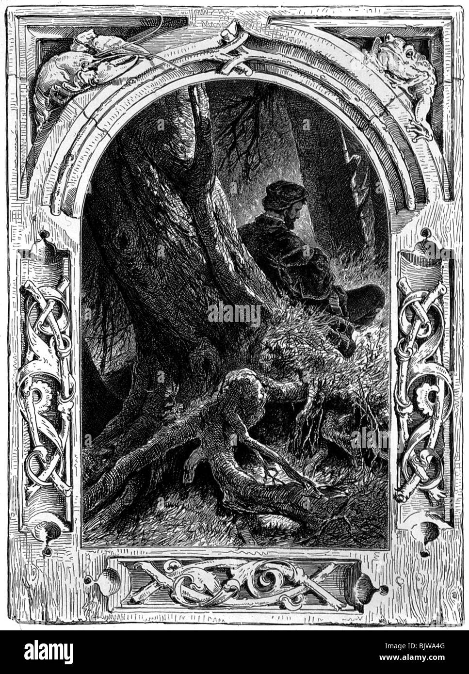 literature, 'Faust I', 21th scene 'Walpurgisnight', scene with Faust, woodcut by W. Hecht, circa - Stock Image