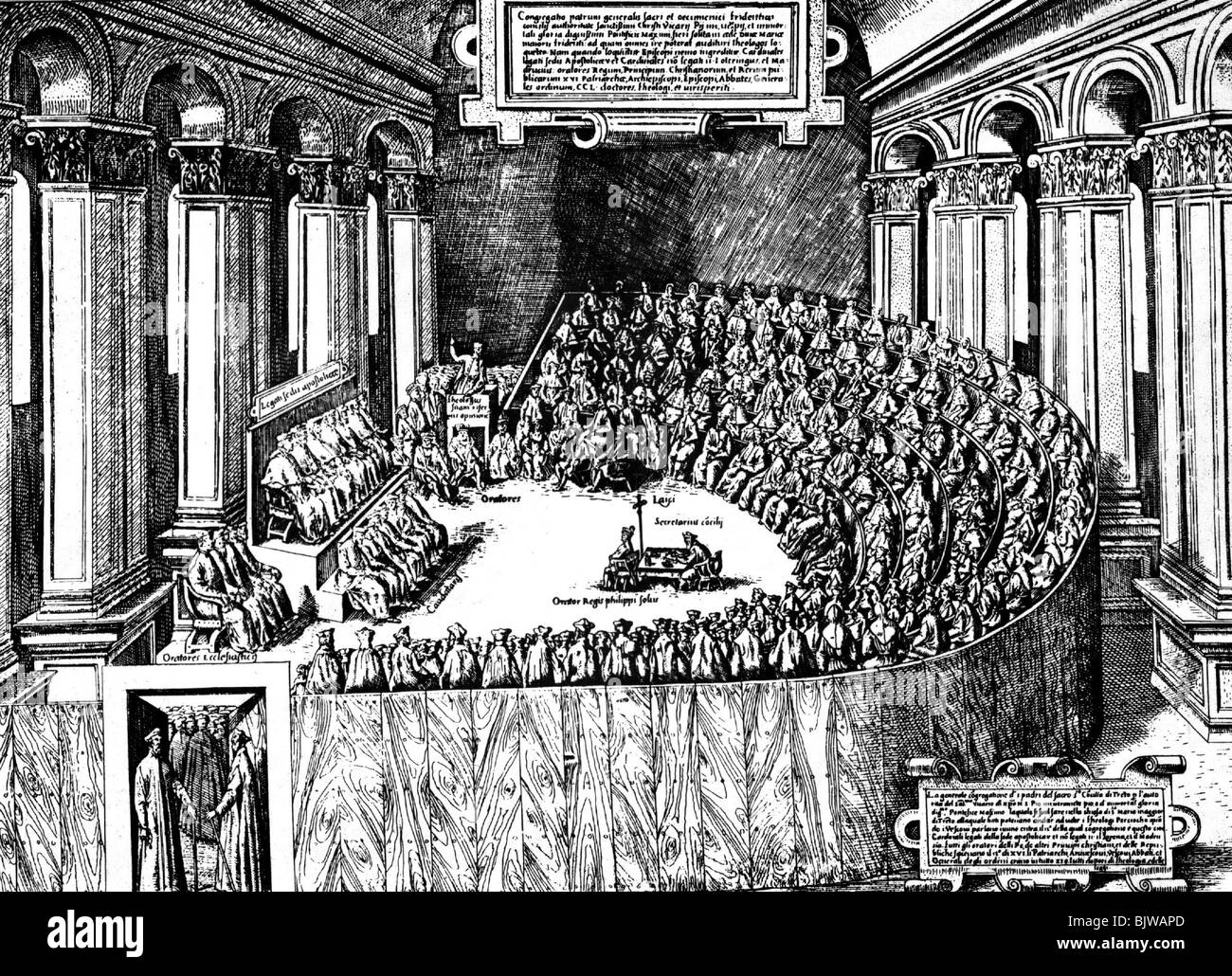 religion, christianity, councils, Council of Trent 1545 - 1563, session, copper engraving, 'Speculum Romanae - Stock Image