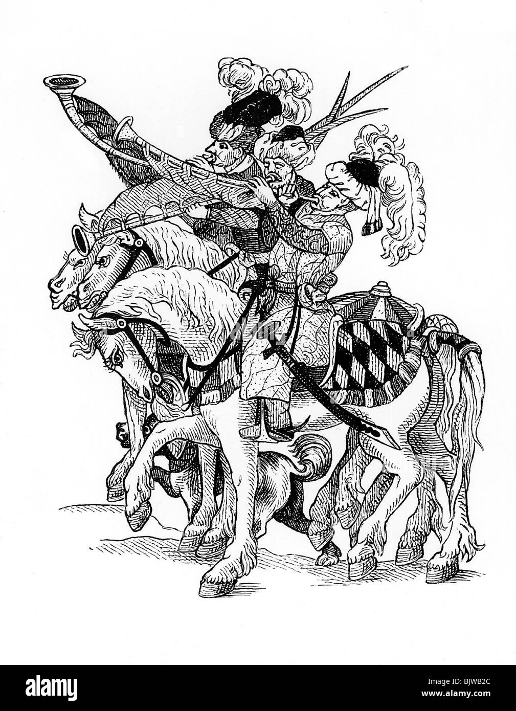 military, Ottoman Empire, Turkish mounted trumpeters, woodcut, 16th century, historic, historical, wars, war, cavalry, - Stock Image