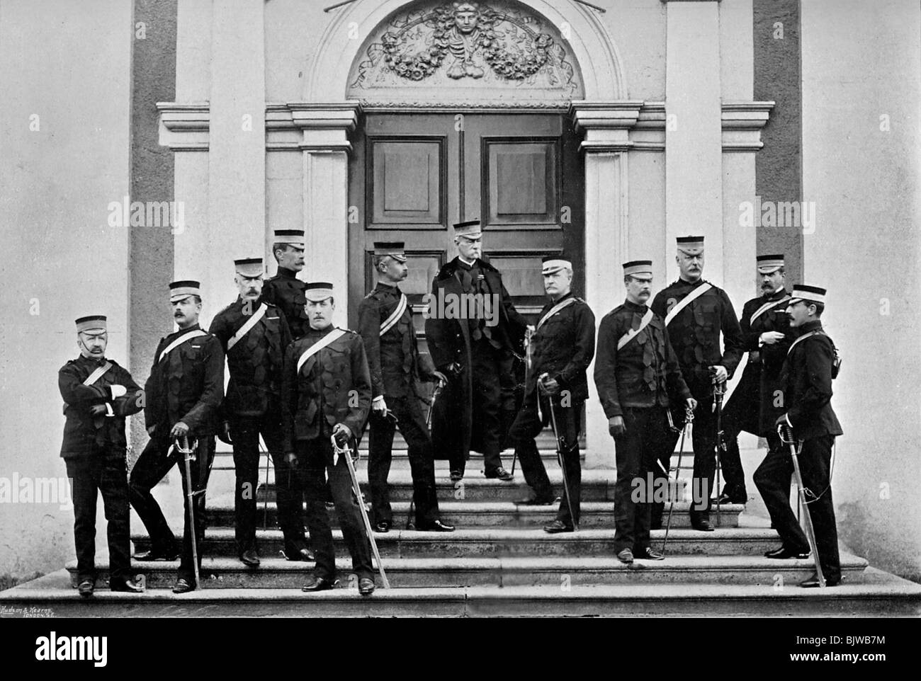 Field Marshal Lord Roberts and his headquarters staff, Kilmainham, Ireland, 1896.Artist: Lafayette - Stock Image
