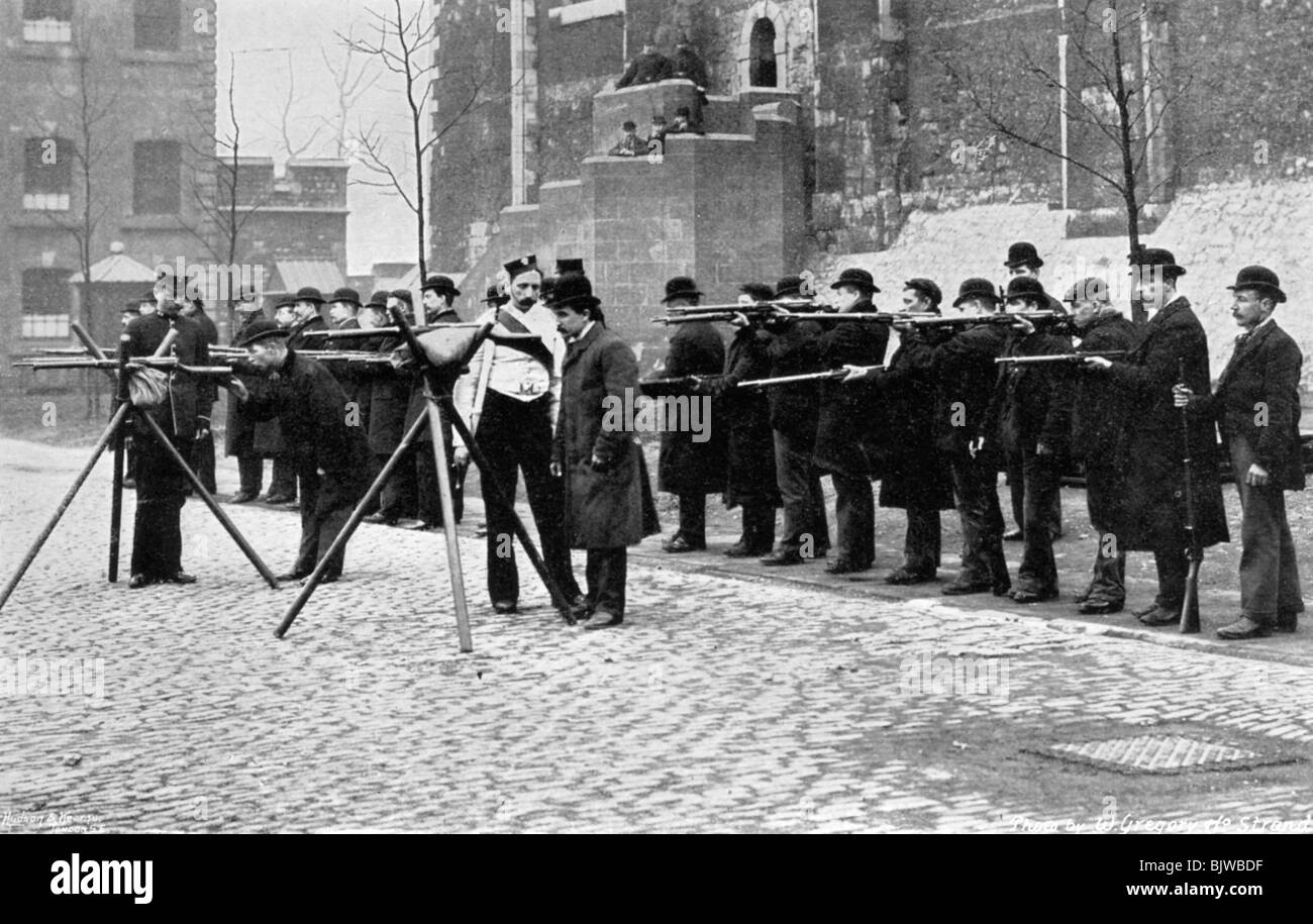 Army reserve men at musketry drill at the Tower of London, 1896. Artist: W Gregory - Stock Image