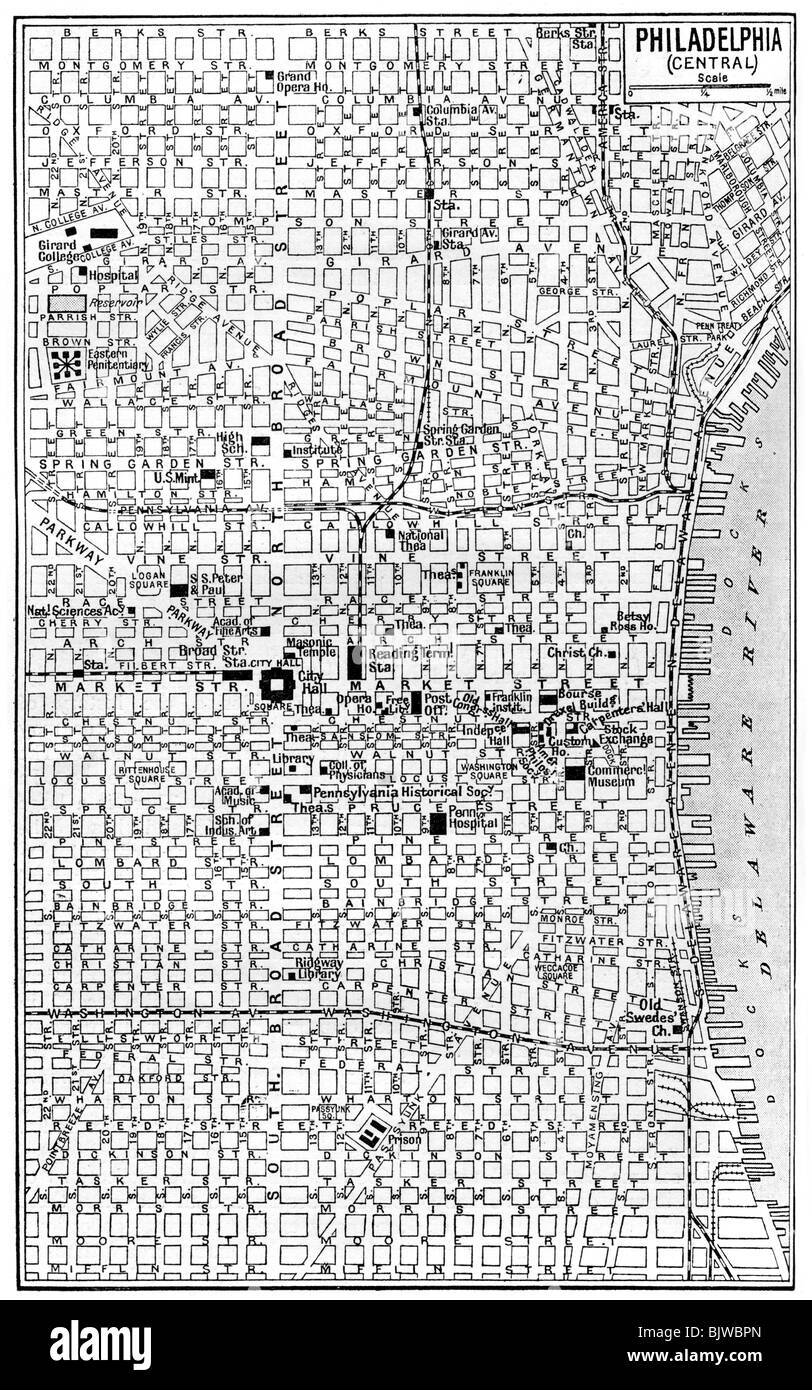 Map Of Central Philadelphia Map of central Philadelphia, Pennsylvania, USA, c1930s. Artist