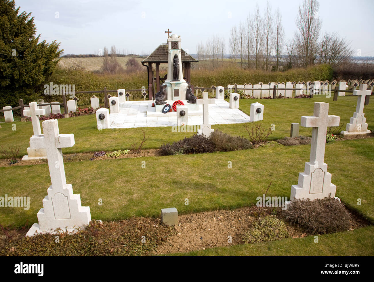 Pre 1940 Naval burial ground, this section for submariners killed in First World war, Naval cemetery, Shotley, Suffolk Stock Photo