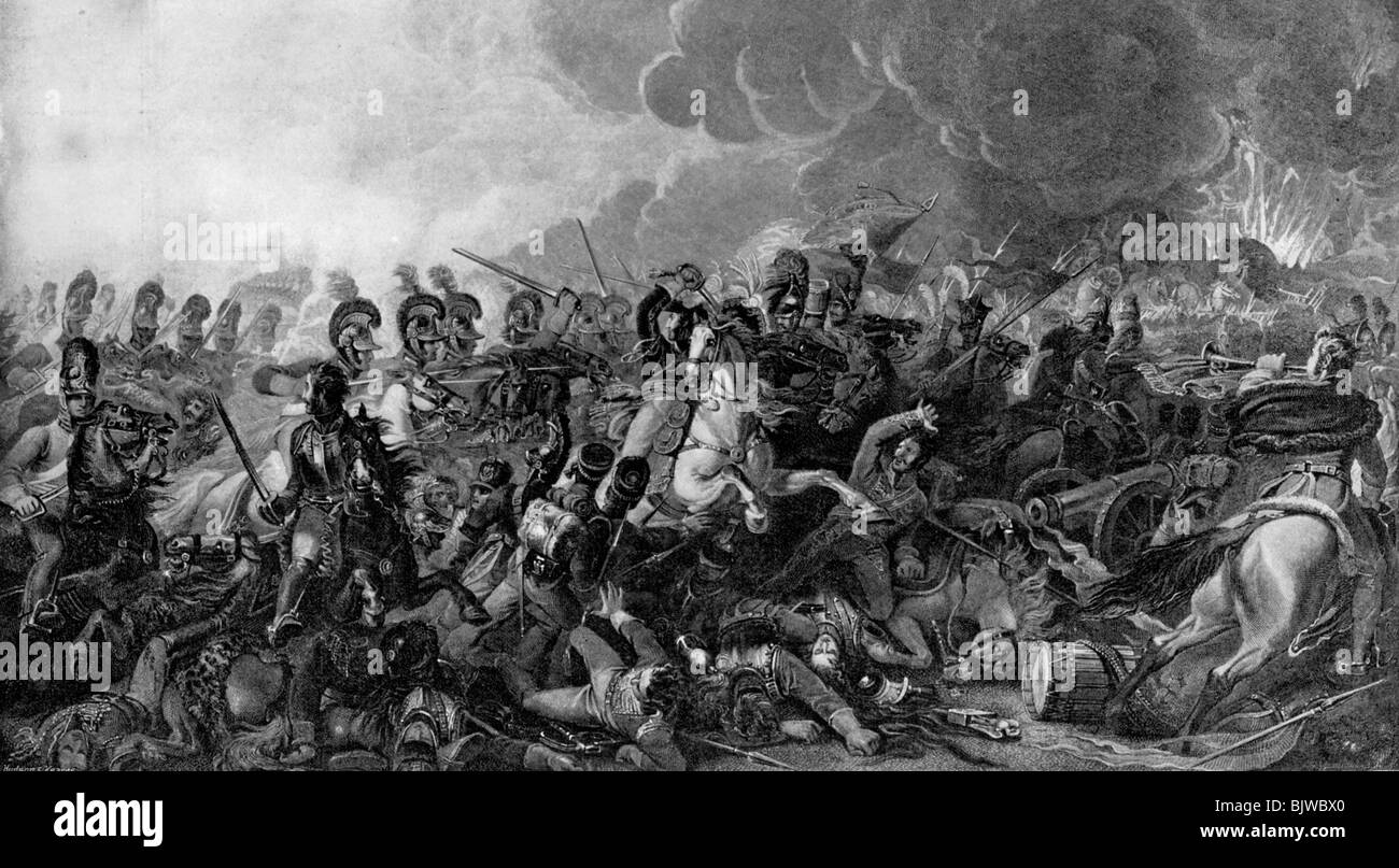 The decisive charge of the Life Guards at the Battle of Waterloo, 1815 (1896). - Stock Image