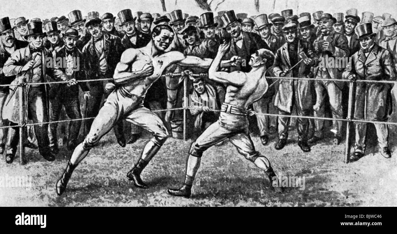 The last bare-knuckle fight, Farnborough, Hampshire, 17th April 1860 (1951). - Stock Image