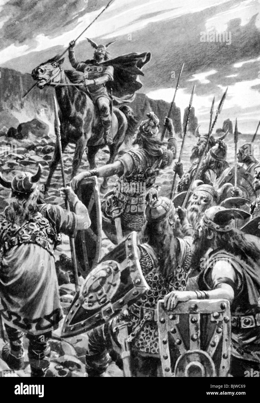 literature, nordic saga, 'Beowulf', Old English heroic epic from 8th century, illustration by Hans W. Schmidt, - Stock Image