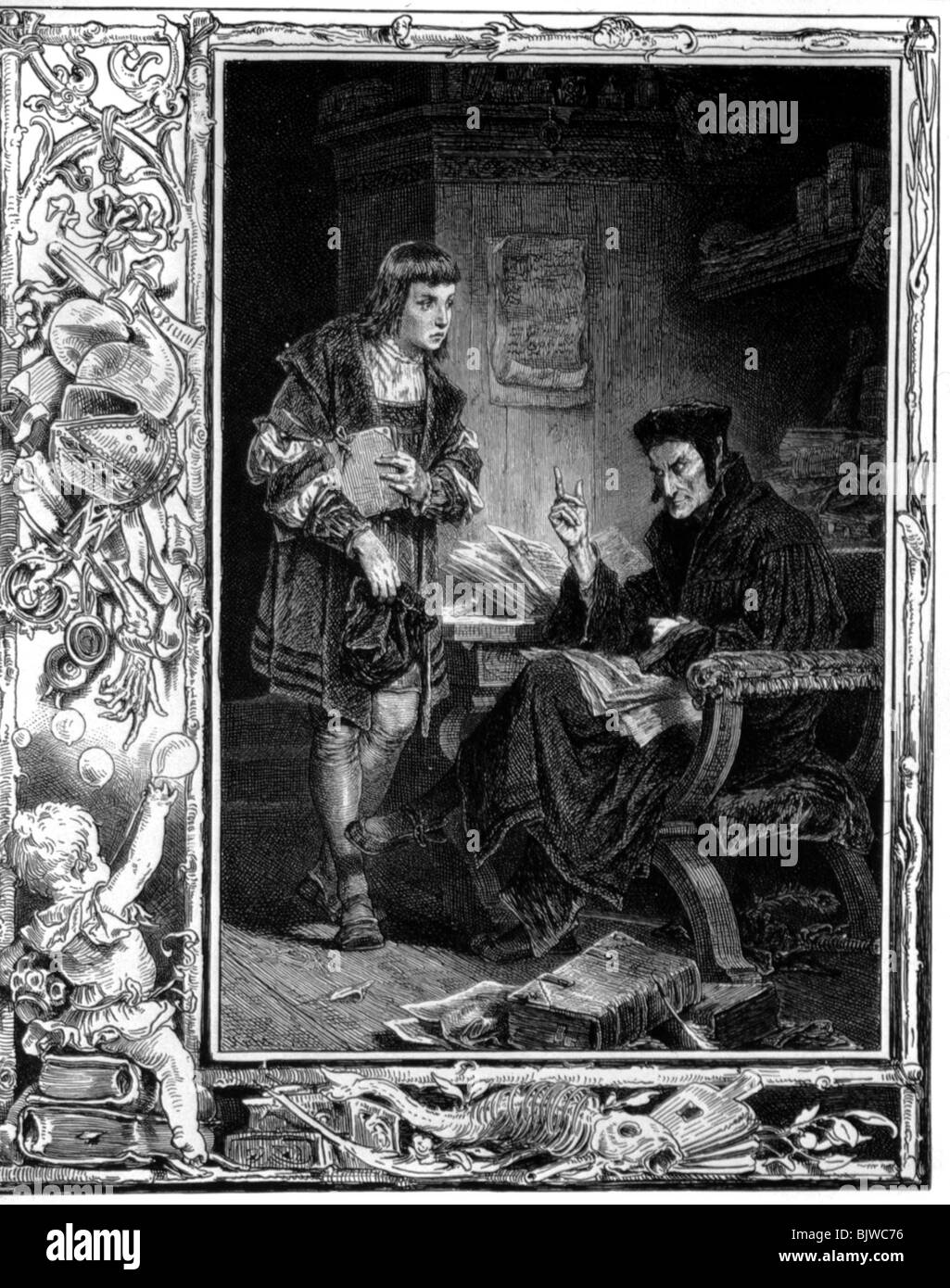 literature, 'Faust I', 4th scene, 'Study', scene with Mephistopheles and scholar, woodcut by W. - Stock Image