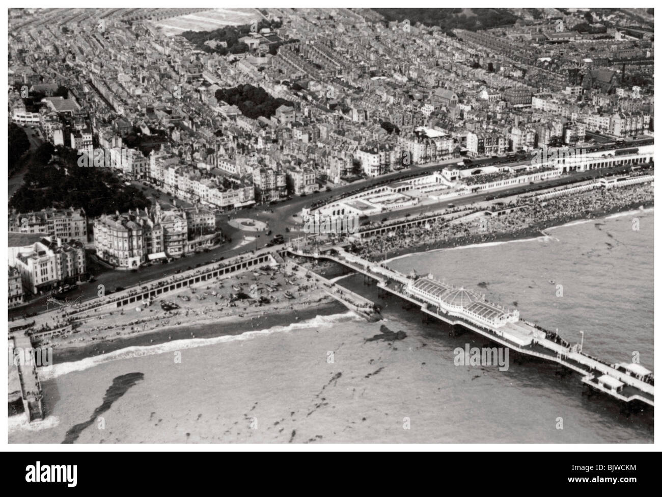 Aerial view of Brighton, Sussex, from a Zeppelin, 1931 (1933). Artist: Unknown - Stock Image