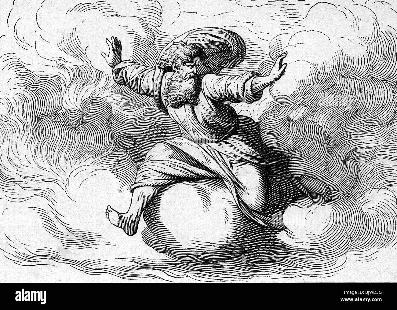 religion, Christianity, biblical scenes, Genesis, god separating light and darkness, wood engraving, 19th century, - Stock Image