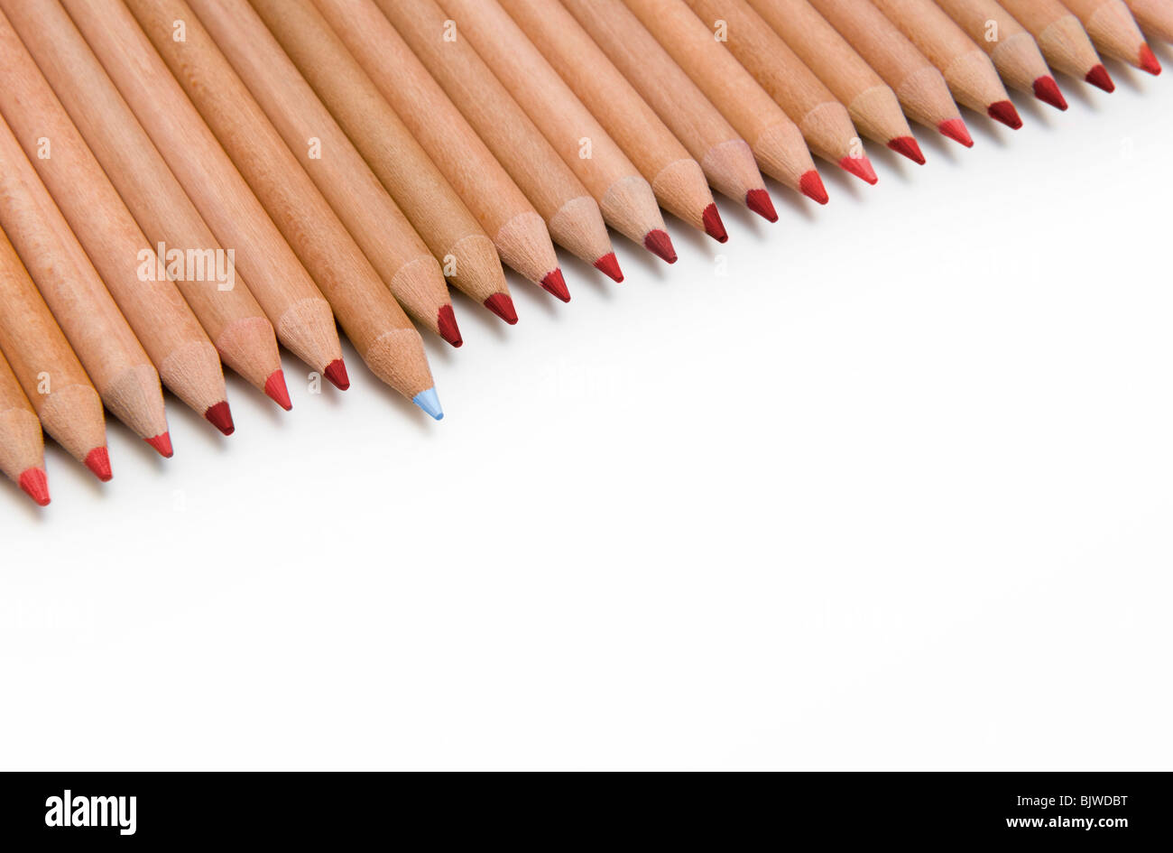 Line of Red Colouring Pencils with One Blue Pencil Sticking Out, on White Background - Stock Image