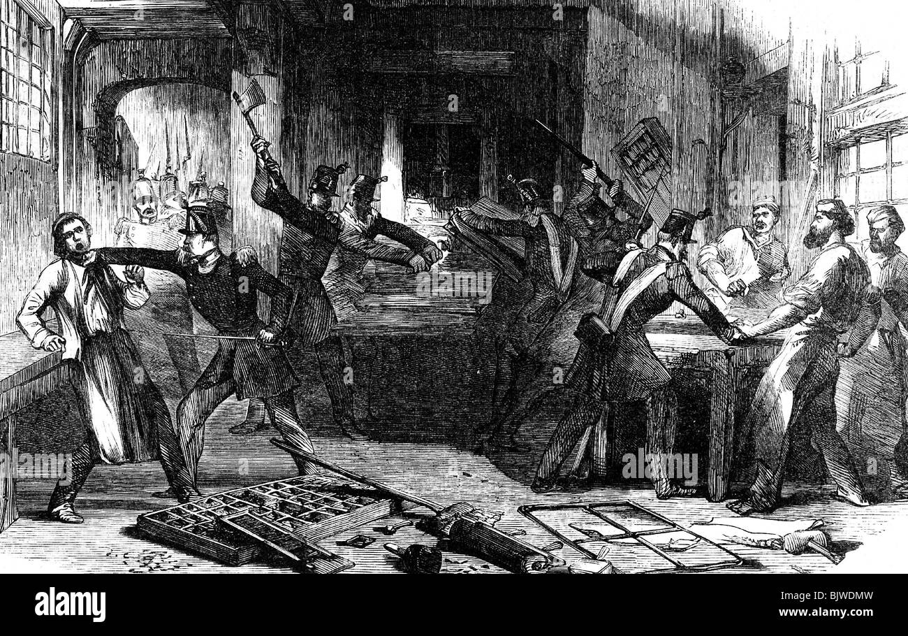 revolutions 1848 - 1849, France, guardsmen destroying printing press of Boule printing house, Paris, 14.6.1849, - Stock Image