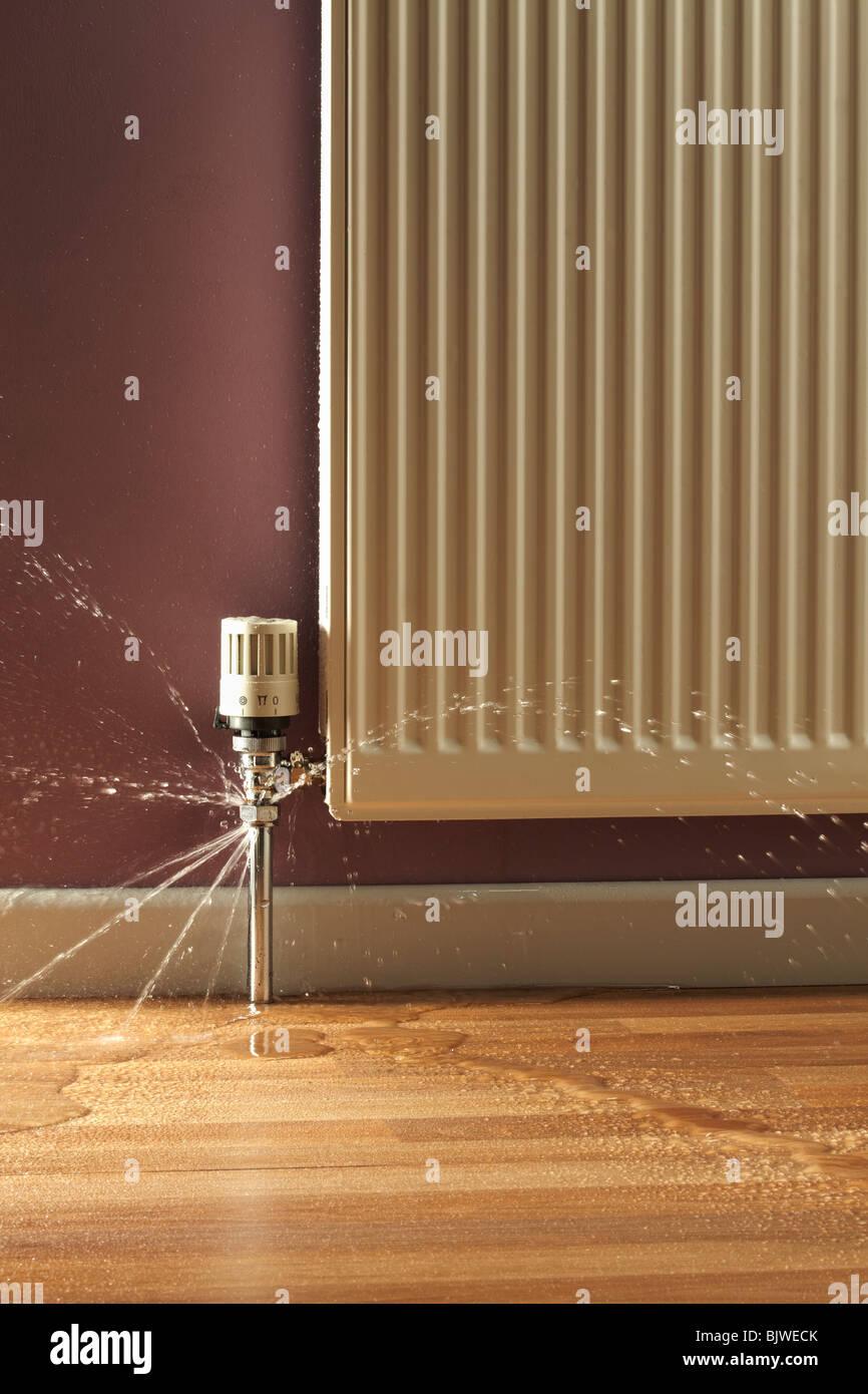 Leaking Radiator Pipes Stock Photo