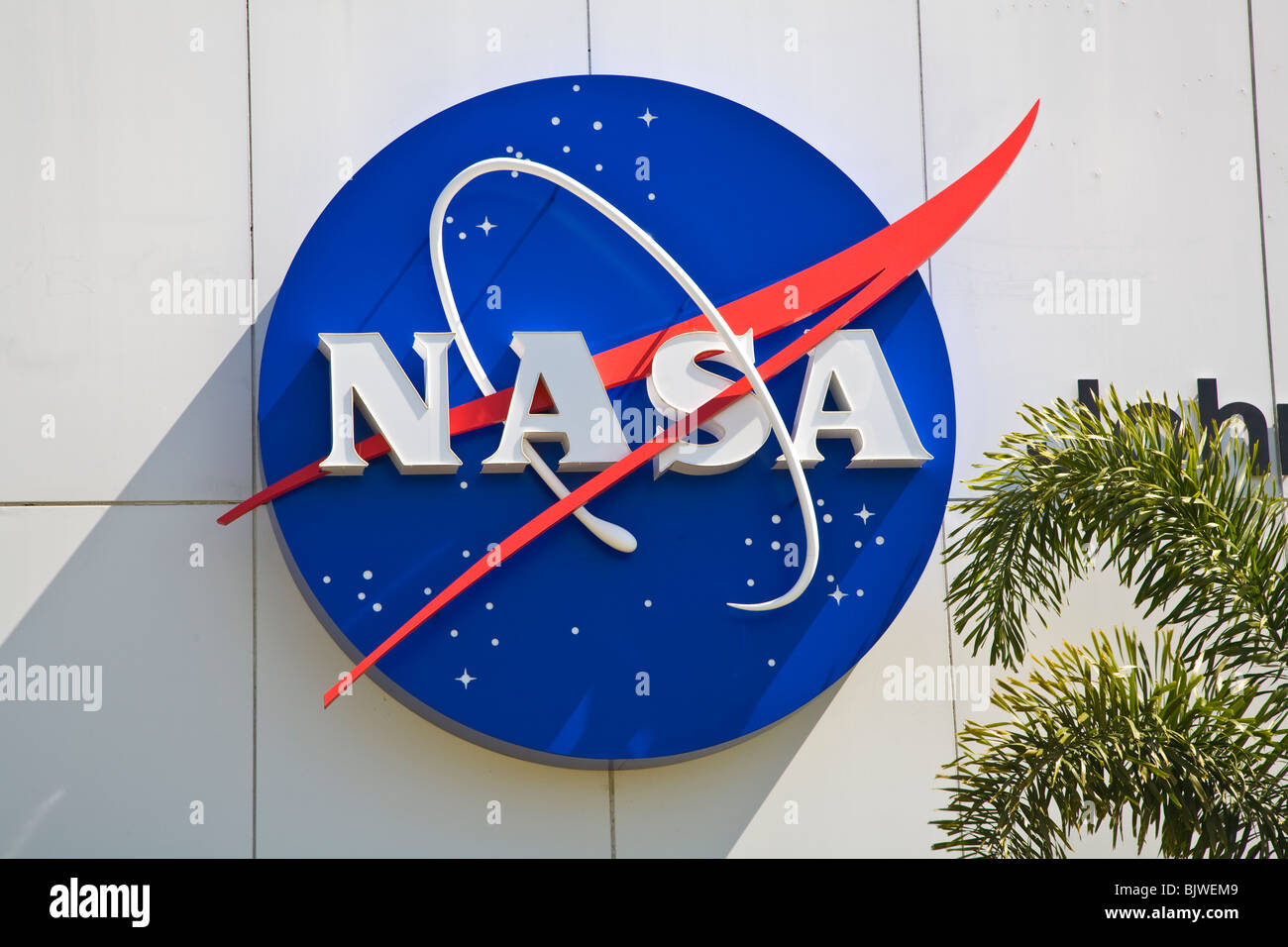 NASA sign at Kennedy Space Center Visitor Complex in Florida - Stock Image