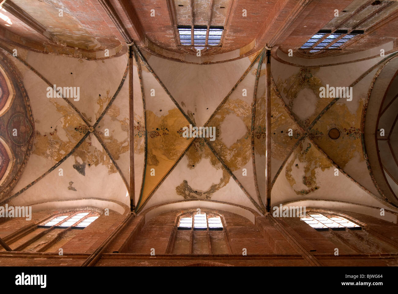 Vaulted ceiling of St. George´s Church in Wismar, Mecklenburg-Western Pomerania, Germany. - Stock Image