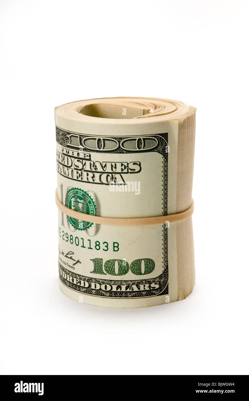 roll of dollar bills on white - Stock Image