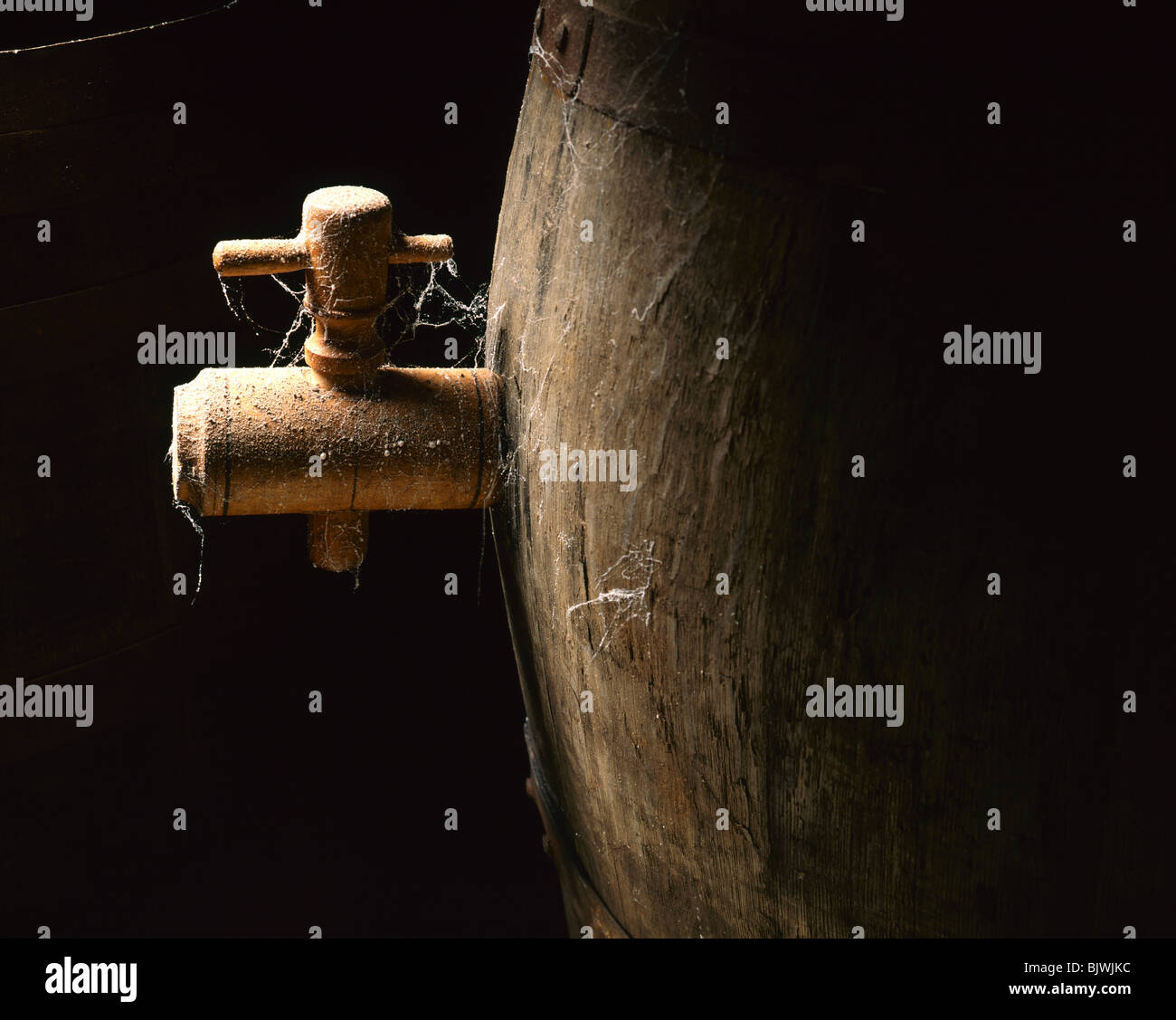 Wooden Barrel Close up - Stock Image