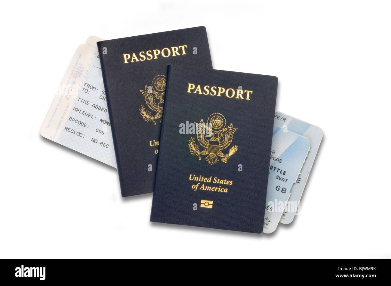 passports with airline tickets - Stock Image