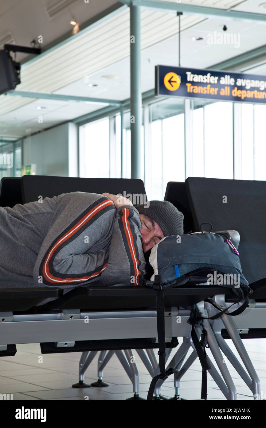 Airport flight delay - Stock Image