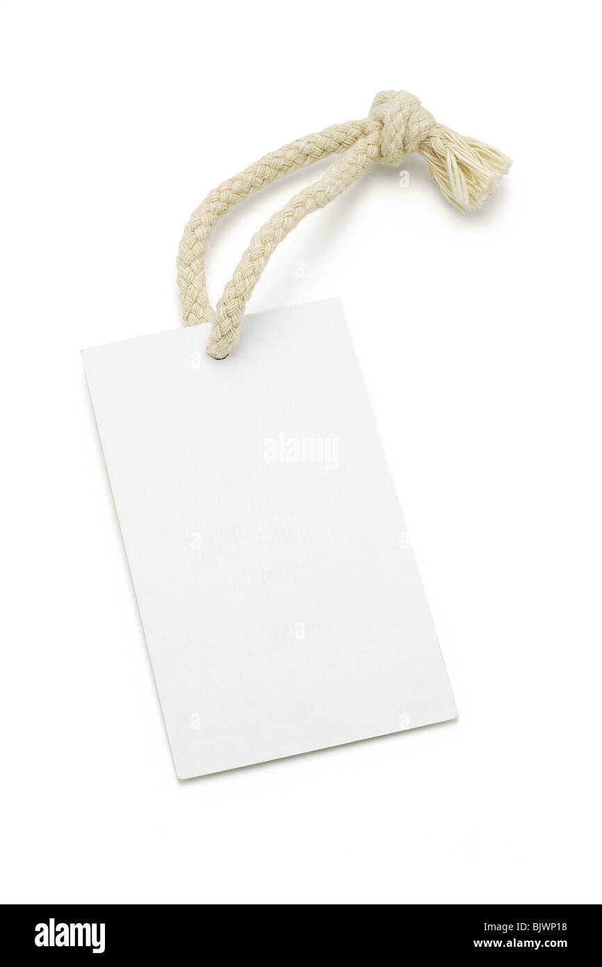 Blank white tag with string on white background - Stock Image