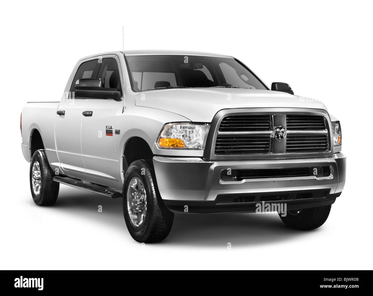 White 2010 Dodge RAM 2500 heavy duty pickup truck isolated on white background with clipping path - Stock Image
