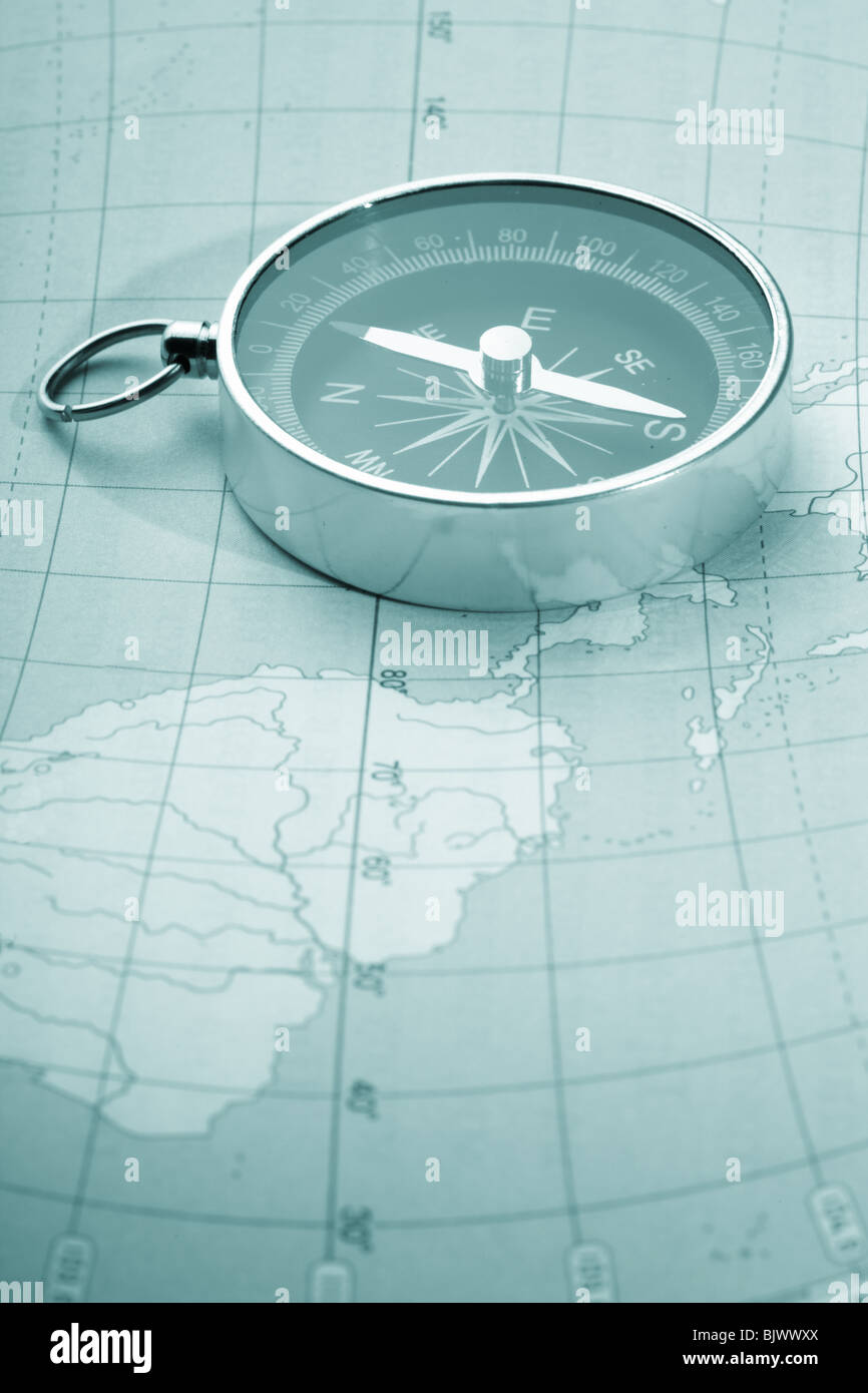 Map with a compass - Stock Image
