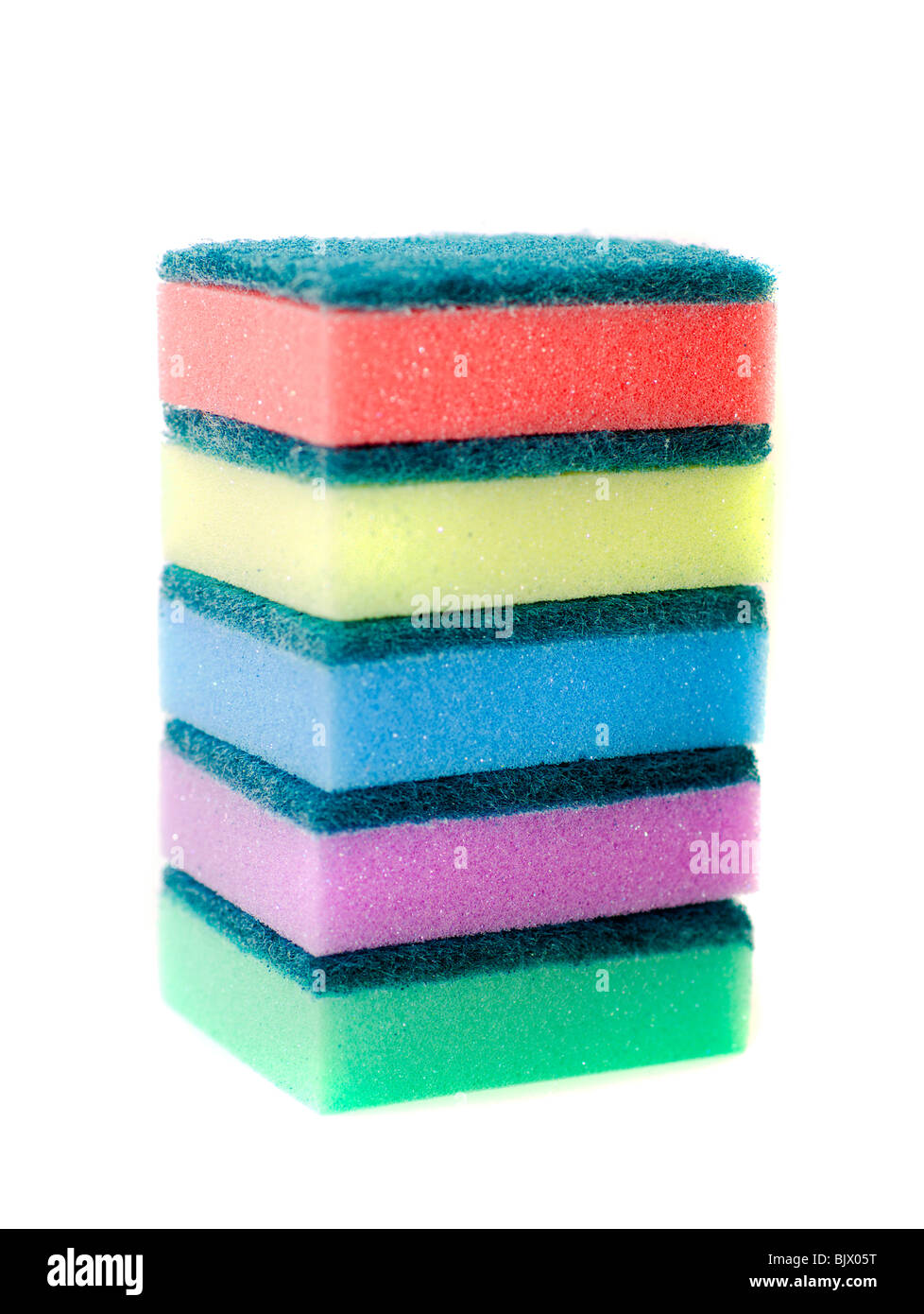 Sponges for utensils. Isolation on white - Stock Image