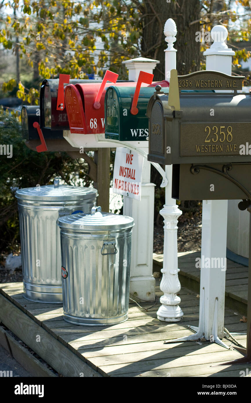 Mail box's and trash cans for sale in Scott's corner, USA . - Stock Image