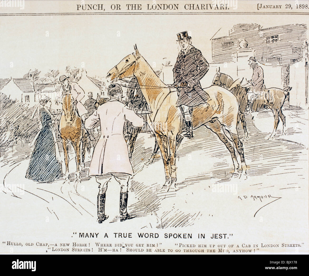 Cartoon about the coming of bicycles and motorized transport and consequent end of riding and horse-drawn traffic. - Stock Image
