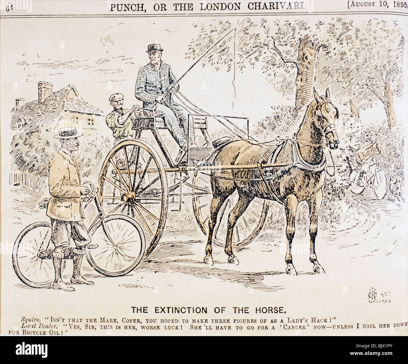 Cartoon about the coming of bicycles and motorized transport and consequent end of horse-drawn traffic. - Stock Image
