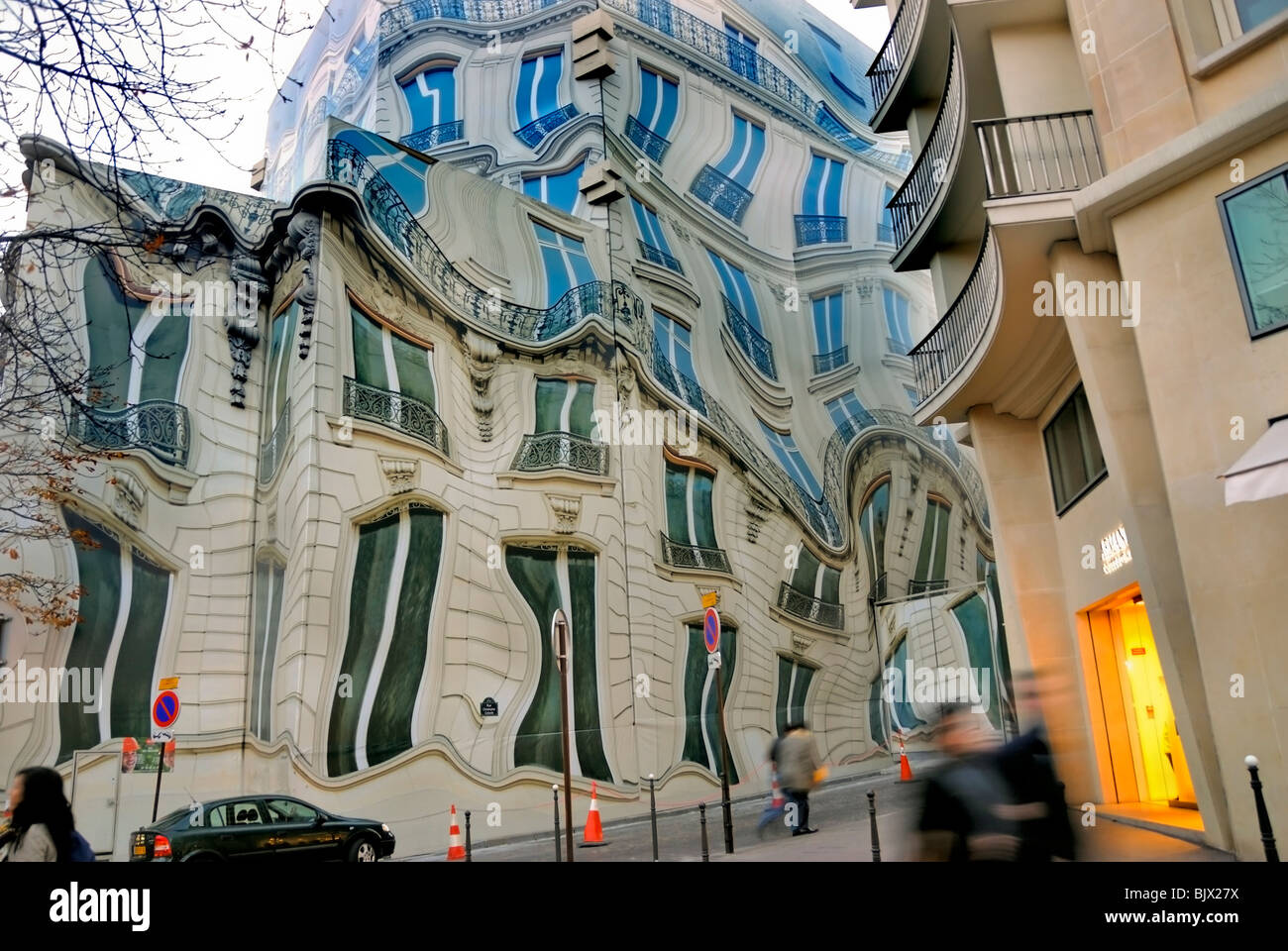 Paris, France, Surrealist Public Street Art on Bleecker Corp. Headquarters Building, - Stock Image