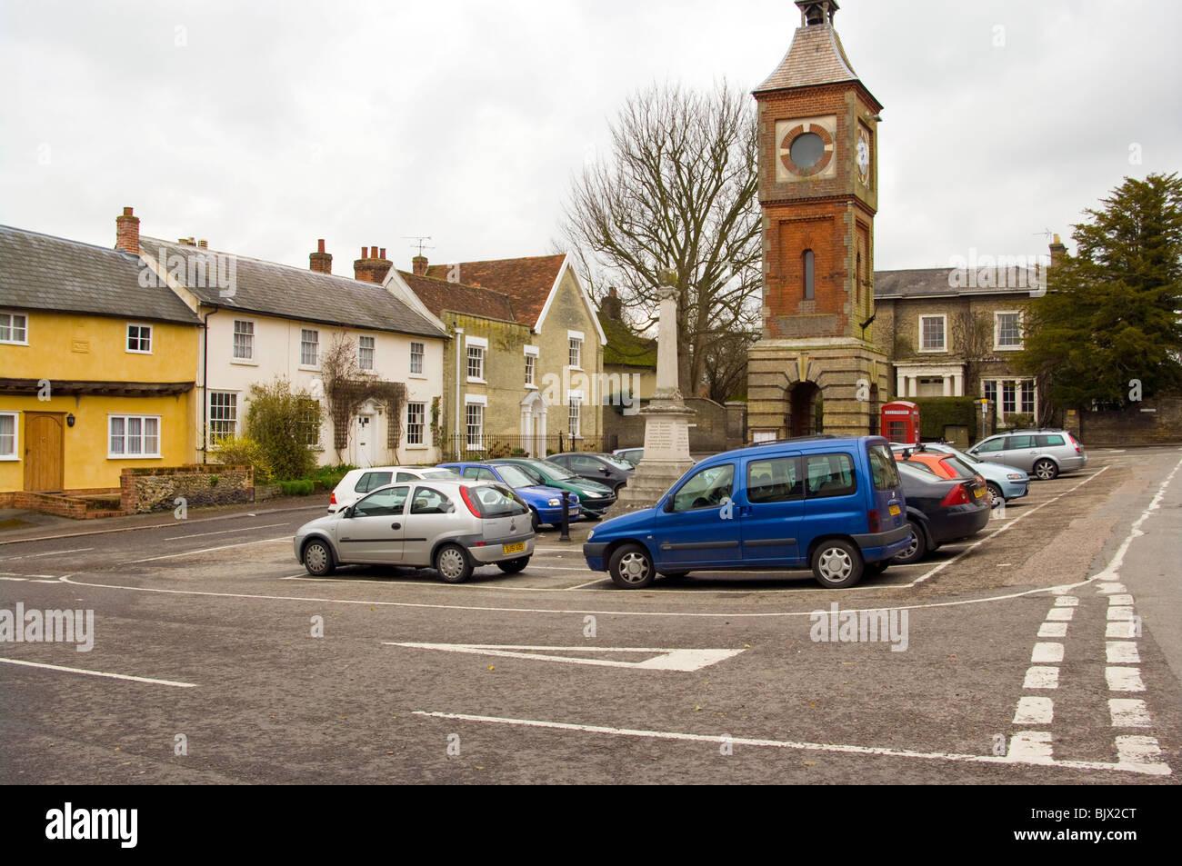Village Clock Market Place Bildeston Suffolk - Stock Image