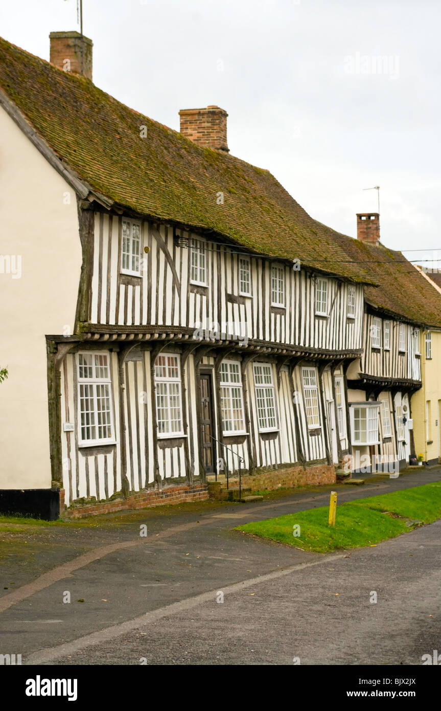 Timber Framed Tudor Houses Chapel Street Bildeston Suffolk - Stock Image
