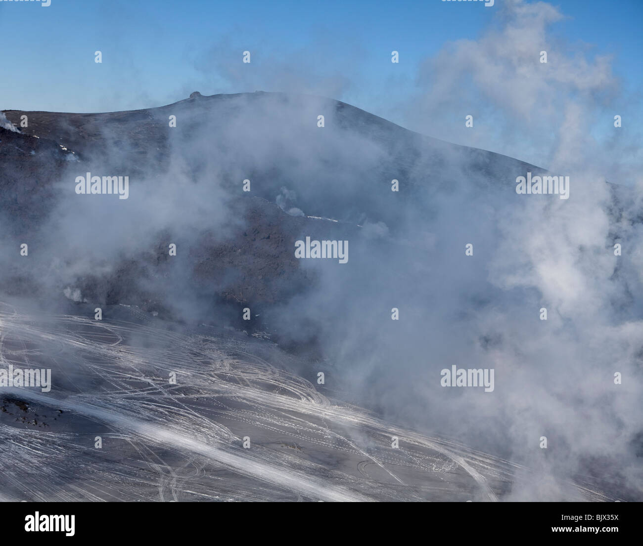 Poisoned gas goes up from the volcano eruption in Eyjafjallajokull, Iceland - Stock Image