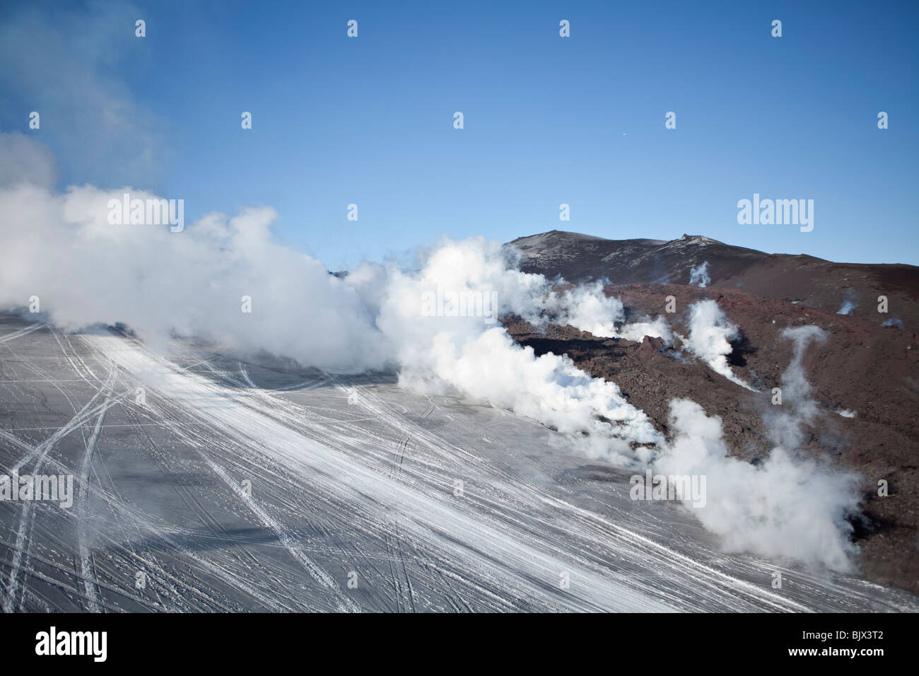 Steam and poisoned gas from the volcanic eruption at Fimmvorduhals, in Eyjafjallajokull, Iceland - Stock Image