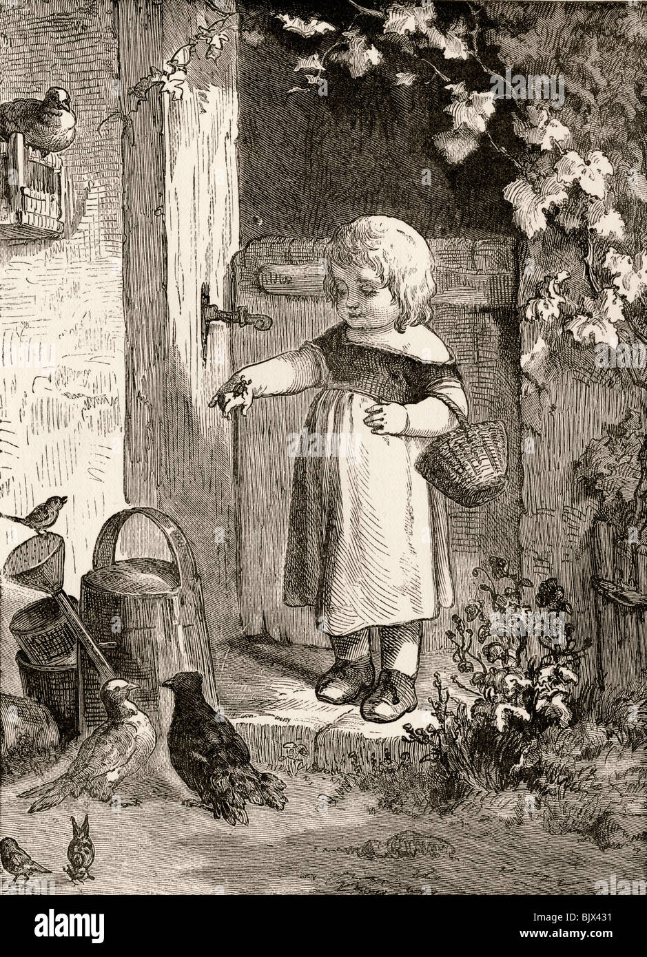 Example of 19th century children's book illustration. Little girl with insect on her hand in farmyard setting. - Stock Image