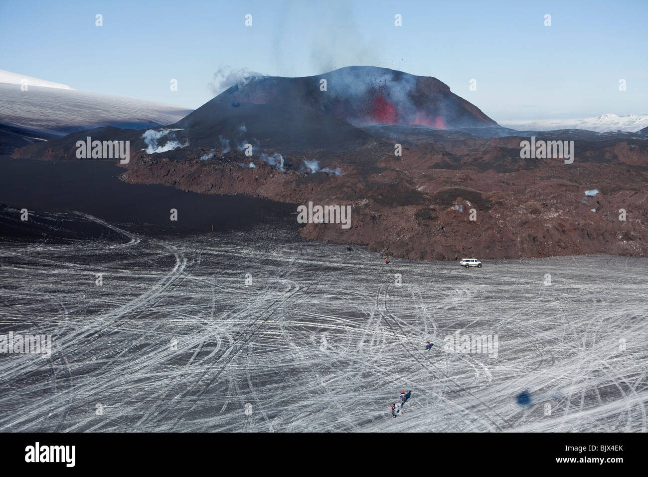 New lava from the volcanic eruption at Fimmvorduhals, in Eyjafjallajokull, Iceland - Stock Image