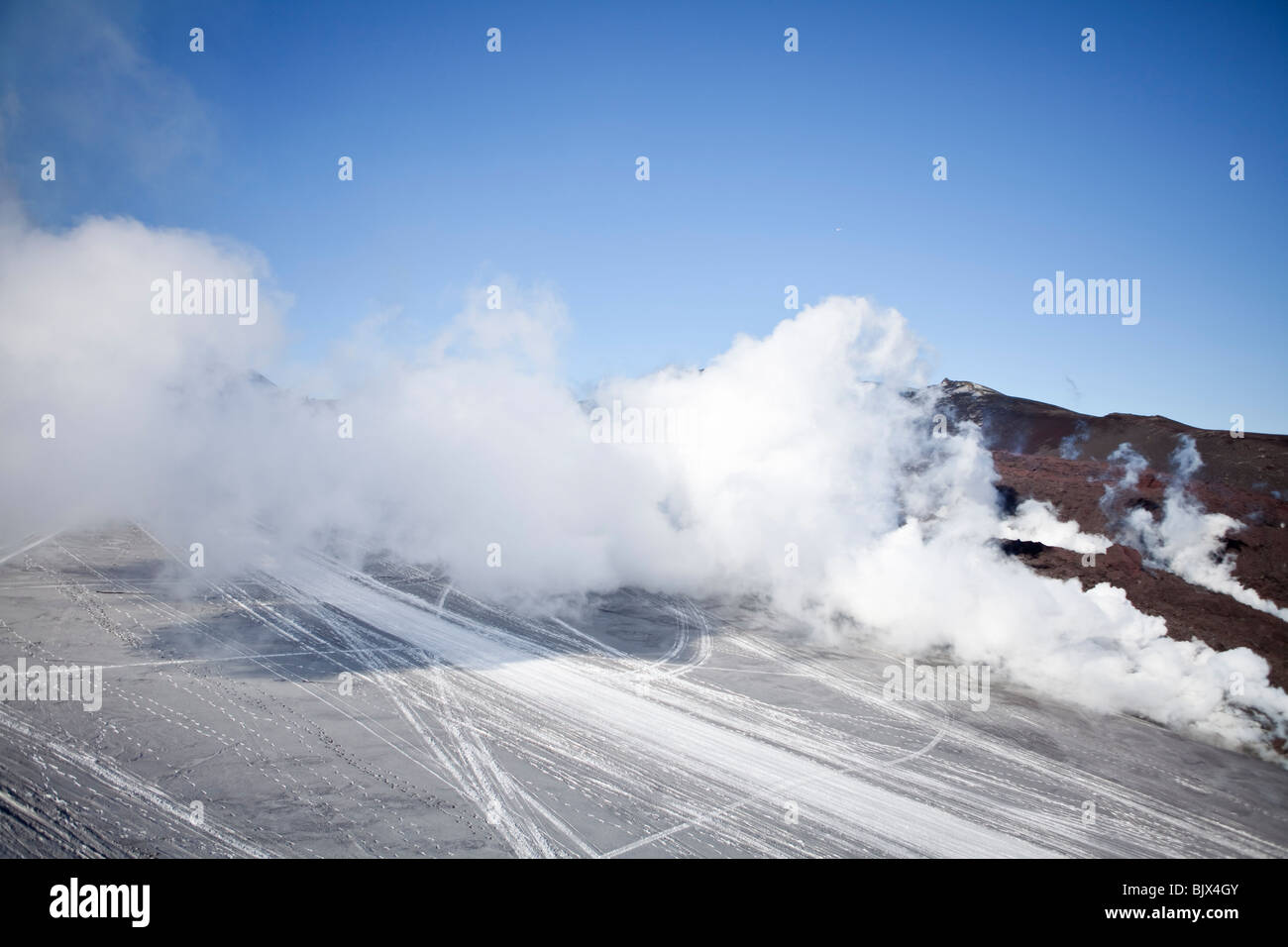 Steam and poisoned gas from the volcanic eruption at Fimmvorduhals, in Eyjafjallajokull, Iceland - - Stock Image