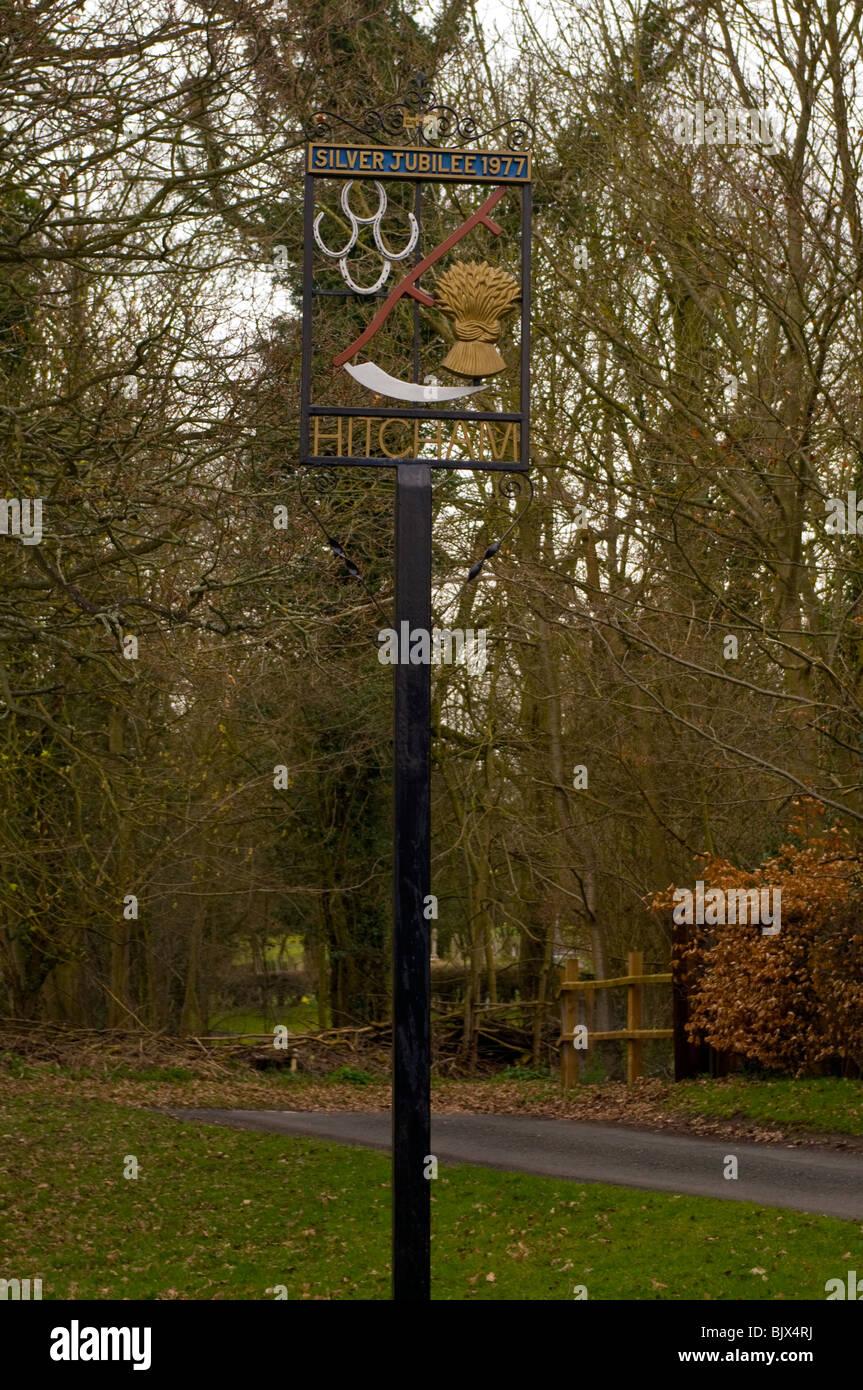 Hitcham Village Sign Suffolk - Stock Image