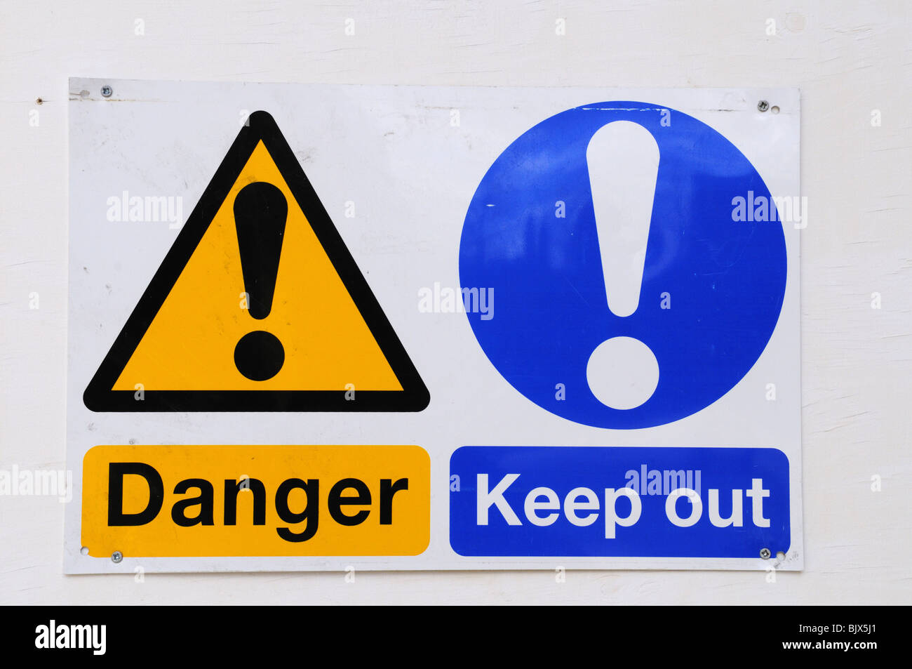 Danger Keep Out warning signs on a building site - Stock Image
