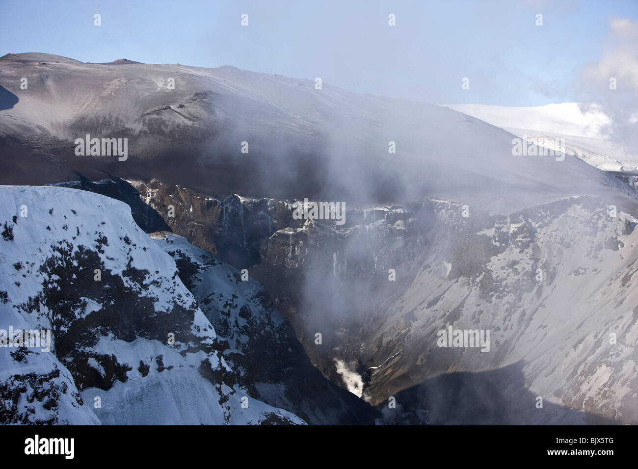 Steam and poisoned gas from the volcanic eruption at Fimmvorduhals, in Eyjafjallajokull, - Stock Image