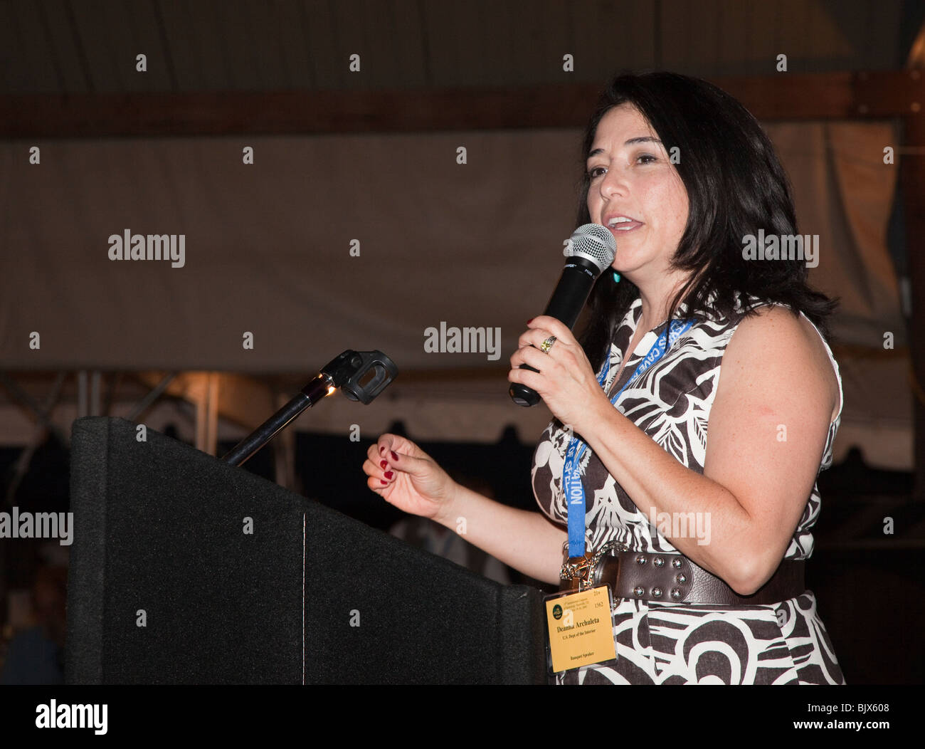 Deanna Archuleta of the Department of the Interior addressing an audience at a dinner Texas USA - Stock Image