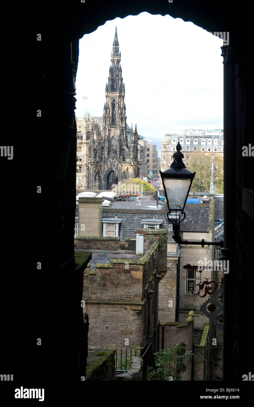 View from the Royal Mile down to the Walter Scott Memorial, Edinburgh, Scotland - Stock Image