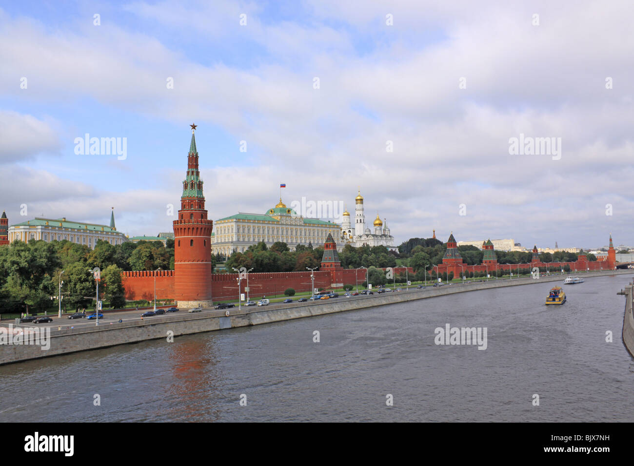 Russia, Moscow river and Kremlin - Stock Image