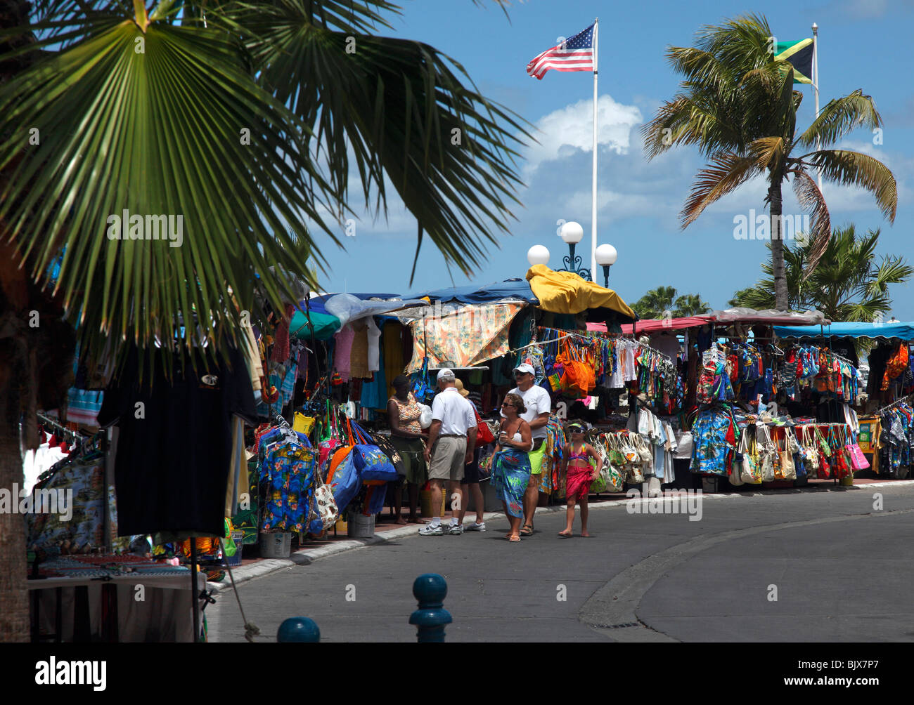 Colourful Market stalls in St.Martin, French Caribbean - Stock Image