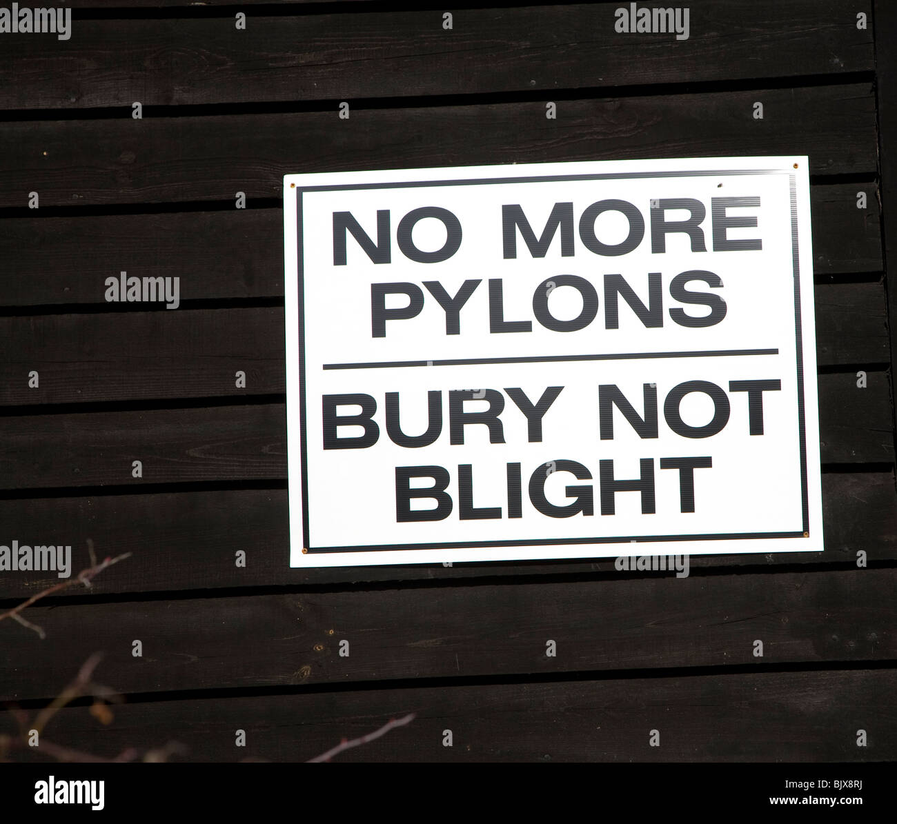 No More Pylons protest poster - Stock Image